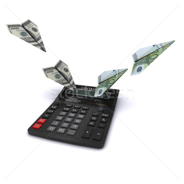 Calculator says paper airplanes out of dollars and euros. Symbol counting currency exchange rates. 3 Stock photo © cherezoff