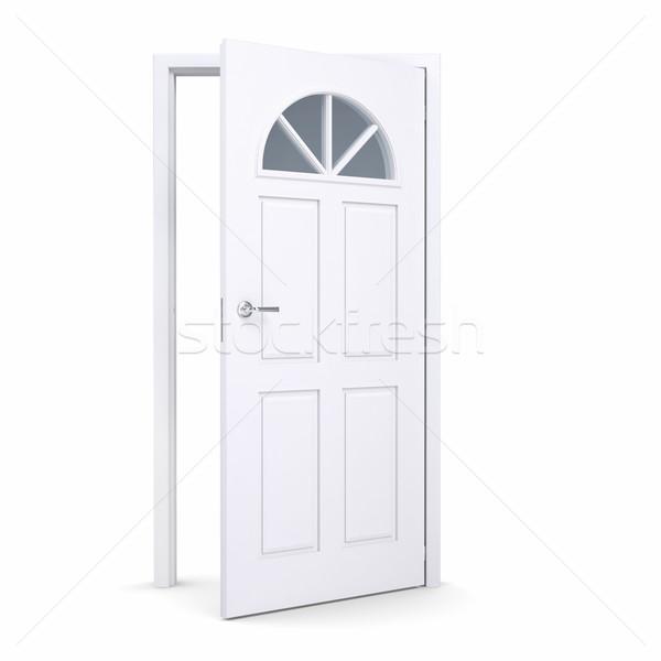 Fehér nyitott ajtó izolált render absztrakt terv Stock fotó © cherezoff