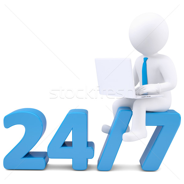 3d man with laptop sitting on the numbers 24/7 Stock photo © cherezoff