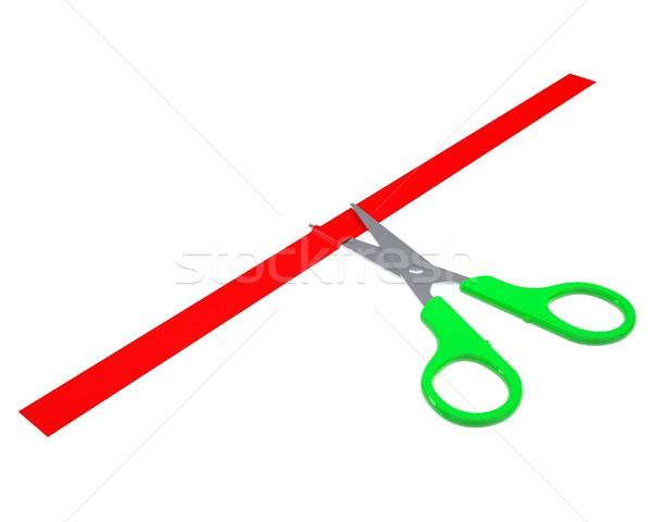 Green scissors cut the red ribbon Stock photo © cherezoff
