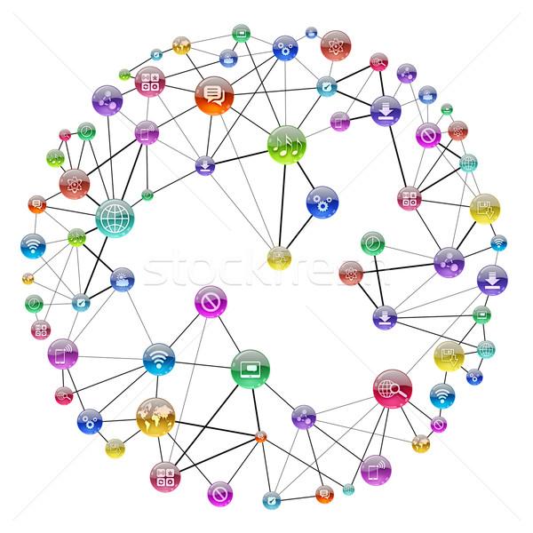 Kommunikáció program ikonok szoftver fa absztrakt Stock fotó © cherezoff