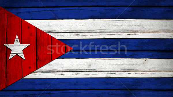 Cuban flag painted on wooden boards Stock photo © cherezoff