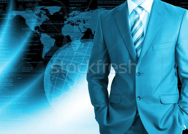 ビジネスマン 地球 グラフィックス スーツ ビジネス 地図 ストックフォト © cherezoff
