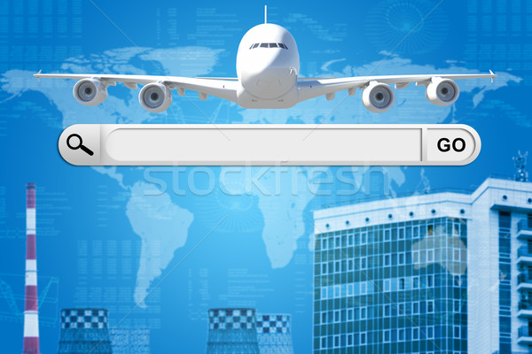Search bar in browser and airplane Stock photo © cherezoff