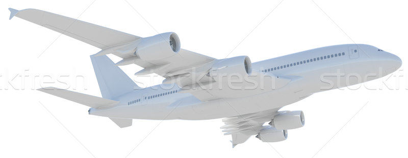 Witte moderne vliegtuig geïsoleerd vliegtuig Stockfoto © cherezoff