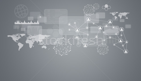 Network, wire-frame spheres, transparent rectangles and world Stock photo © cherezoff