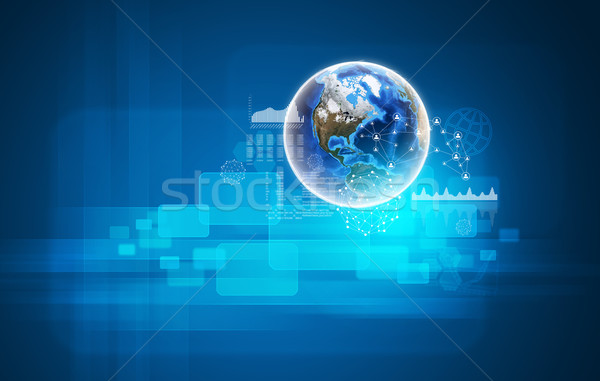 Earth with transparent rectangles, graphs and network Stock photo © cherezoff