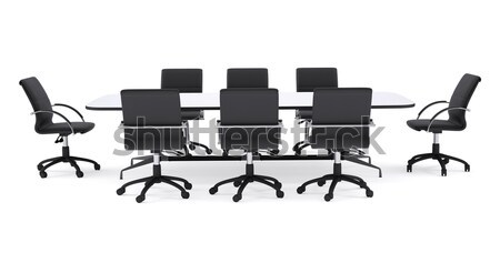 Conference table and eight black office chairs. Isolated Stock photo © cherezoff