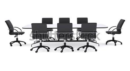 Konferencia asztal nyolc fekete iroda székek Stock fotó © cherezoff