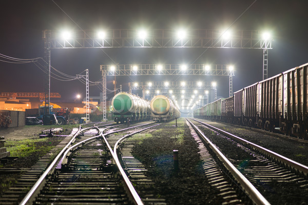 Rail yard with railroad cars and cisterns Stock photo © cherezoff
