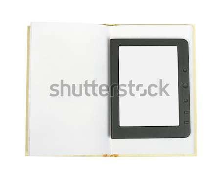 E-book reader on blank book Stock photo © cherezoff