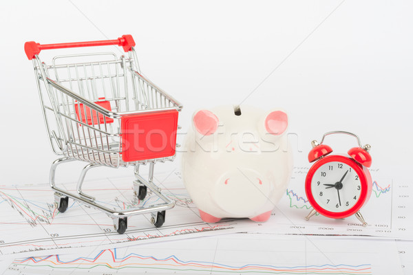 Bevásárlókocsi persely óra ébresztőóra izolált fehér Stock fotó © cherezoff