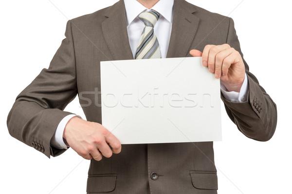 Stok fotoğraf: Işadamı · boş · kağıt · beyaz · yalıtılmış · kâğıt