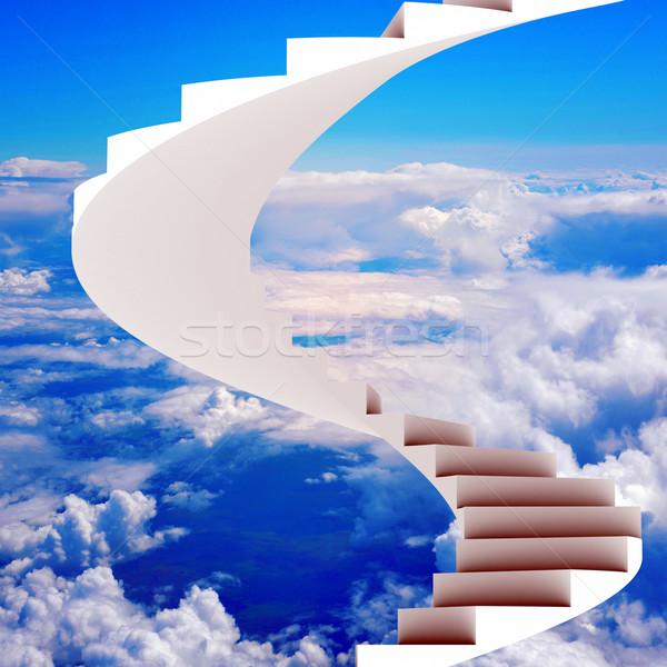Stairway leading up to bright light Stock photo © cherezoff