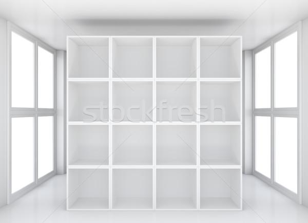 Ausstellung Bücherregal glänzend Ausstellungsraum weiß 3D Stock foto © cherezoff