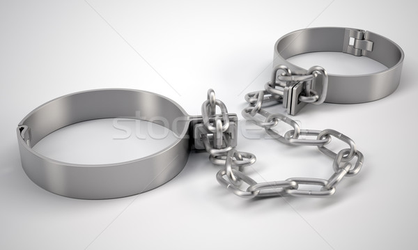 Metal shackles, on gray background Stock photo © cherezoff