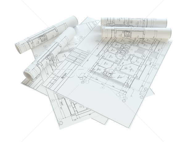 Roulé maison blueprints isolé blanche 3d illustration Photo stock © cherezoff