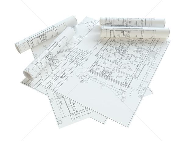 Ev planları yalıtılmış beyaz 3d illustration Stok fotoğraf © cherezoff