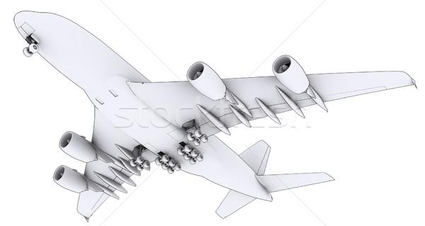 Grande blanco avión aislado hacer líneas Foto stock © cherezoff