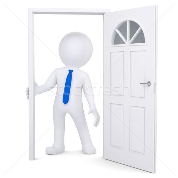 3D fehér férfi nyitva kapualj izolált render Stock fotó © cherezoff