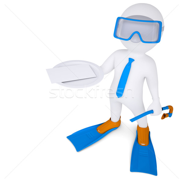 3d man with flippers holds white card on plate Stock photo © cherezoff