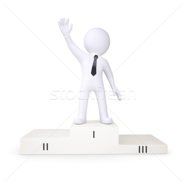 3d white human is in the first place podium Stock photo © cherezoff