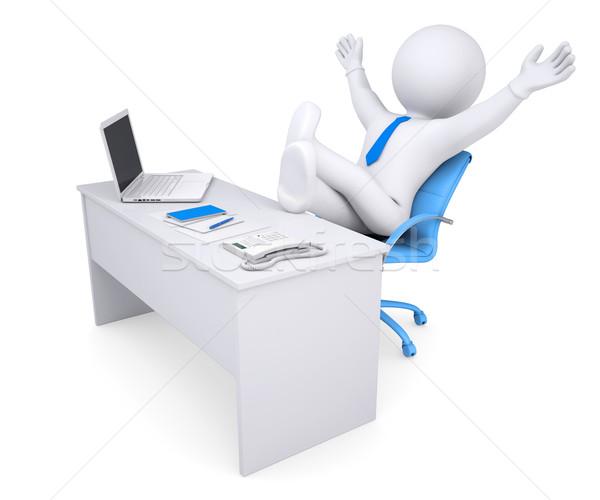 3D branco humanismo sessão tabela alegremente Foto stock © cherezoff
