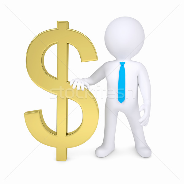 3D blanke man goud dollarteken geïsoleerd geven Stockfoto © cherezoff