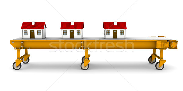Three houses are moving on conveyor belt Stock photo © cherezoff