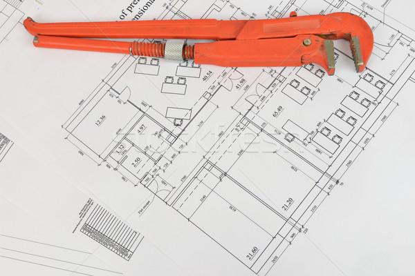 Franciakulcs rajz asztali javítás építkezés iroda Stock fotó © cherezoff