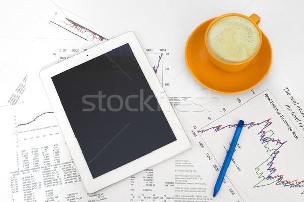 Stok fotoğraf: Fincan · kahve · kâğıt · grafikler · iş