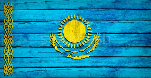 Cazaquistão bandeira pintado grunge estilo Foto stock © cherezoff