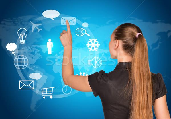 красивой деловая женщина платье пальца виртуальный кнопки Сток-фото © cherezoff