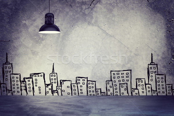 Concrete wall with sketches of buildings. Left standing lampshade Stock photo © cherezoff