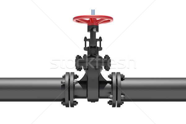 Black industrial valves and pipe Stock photo © cherezoff