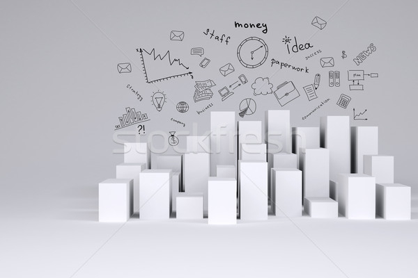 Minimalistic city of white cubes with business sketches Stock photo © cherezoff