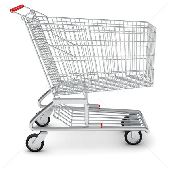 Bevásárlókocsi fehér vétel izolált oldalnézet Stock fotó © cherezoff
