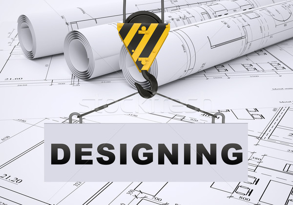 Building crane with word designing Stock photo © cherezoff