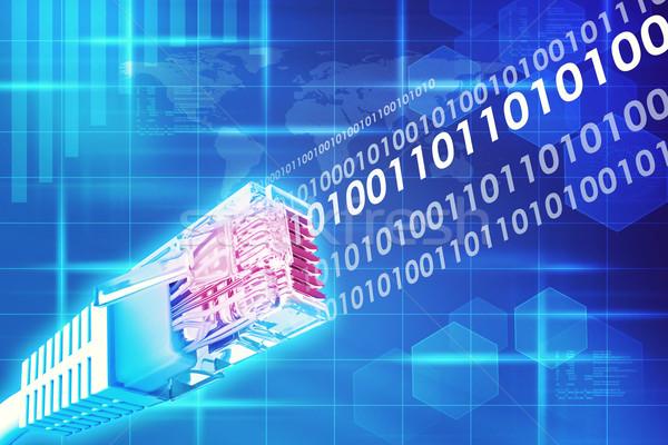 Kabel komputerowy energii numery streszczenie niebieski Zdjęcia stock © cherezoff