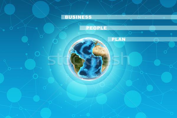 Terra círculos negócio palavras abstrato azul Foto stock © cherezoff