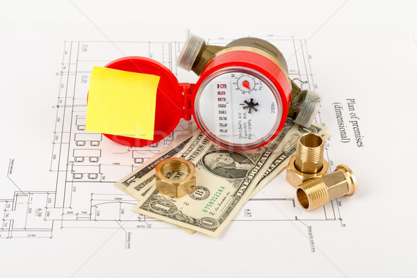 Water meter with cash and piping components Stock photo © cherezoff