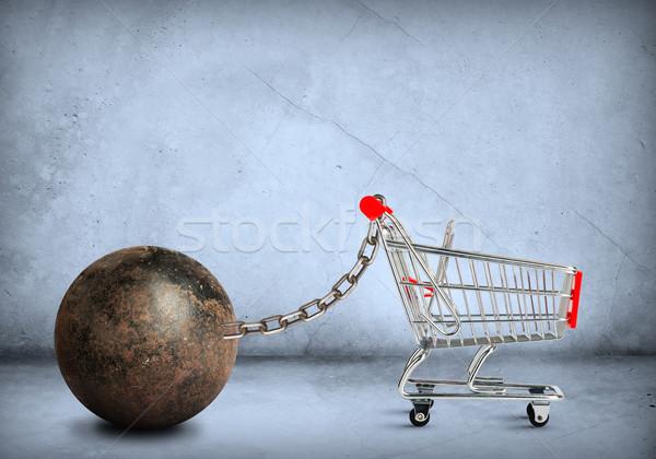 Iron ball with shopping cart Stock photo © cherezoff