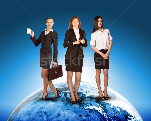 Business signore terra abstract blu cielo Foto d'archivio © cherezoff