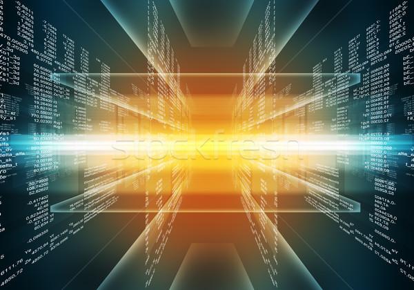 Binário azul vermelho computador código matriz Foto stock © cherezoff