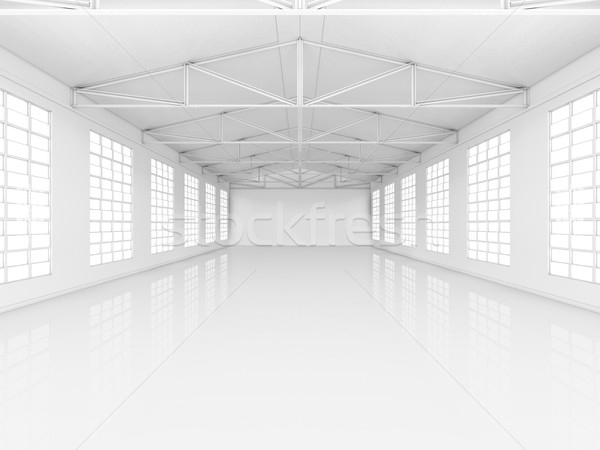 Stock photo: Clean white empty warehouse with windows
