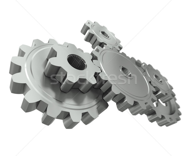 Stock foto: Gruppe · Metall · Zahnräder · Symbol · Teamarbeit · Business