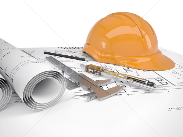 Helmet and tools for construction drawings Stock photo © cherezoff