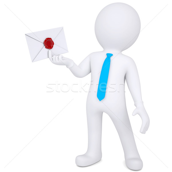 3d man holding an envelope in his hand Stock photo © cherezoff