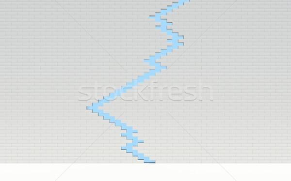 Törés téglafal égbolt építkezés fal absztrakt Stock fotó © cherezoff