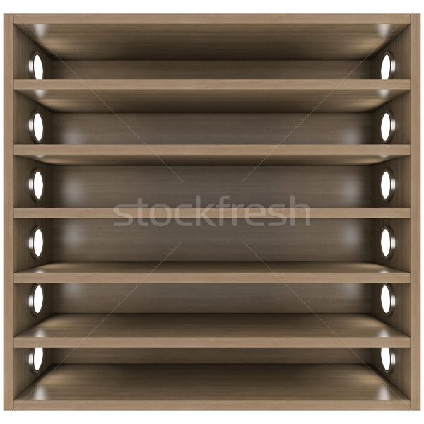 Wooden shelves with built-in lights Stock photo © cherezoff